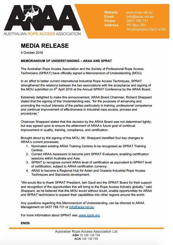 Memorandum of Understanding between ARAA and SPRAT   Pinnacle Safety ...